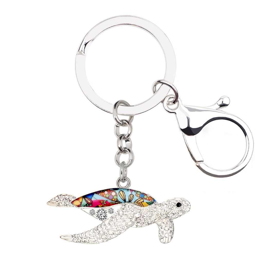Bonsny эмаль металл океан морская черепаха Брелоки Брелок-кольцо со стразами животных Ювелирные изделия для женщин девочек сумка автомобиль талисманы