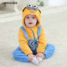 Minions Onesie Baby Romper Good Quality Infant Clothes Newborn Pajama Kigurumi Kids Overall Zipper Outfit Fancy Anime Costume