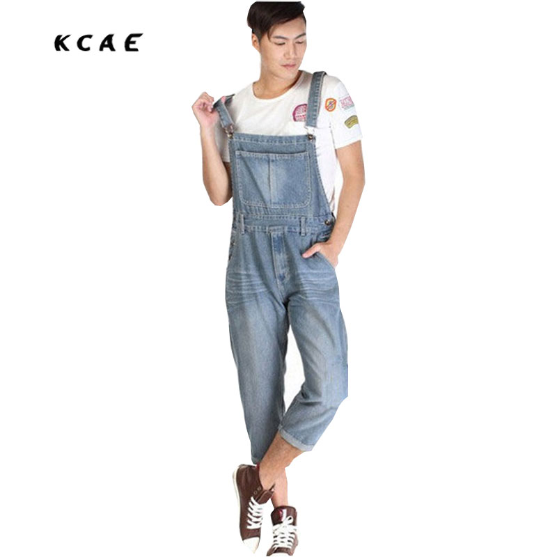 New Man Denim Dress Jeans Bib Pants Overalls Male Loose Plus Size Jumpsuit Casual Suspenders Cargo Trousers S-5XL free shipping 2016 plus size denim bib pants halter neck jumpsuit and rompers for women suspenders jeans ol straight trousers xl