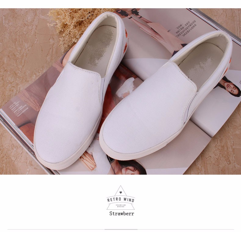 Popular Loafers Woman White New brand shoes casual shoes Canvas Shoes Embroidered Anti-Slippery 4 color And 5 Size Qf2016-002 blue and white canvas anti static shoes esd clean shoes pharmaceutical shoes work shoes add cotton