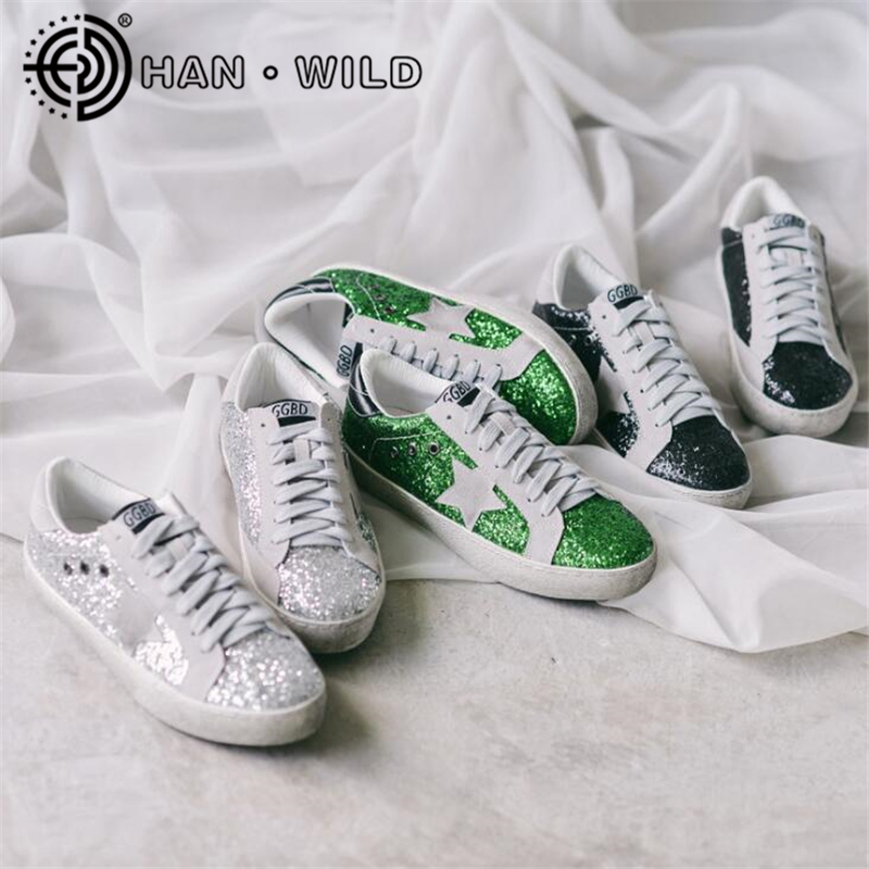 Women Casual Shoes Distressed Leather Do Old Dirty Shoes Bright Color Women Sequins Fashion Golden Star Goose Fleeces Shoes woman burst leather casual shoes golden star women do old dirty shoes female lace up distressed leather vintage flat shoes
