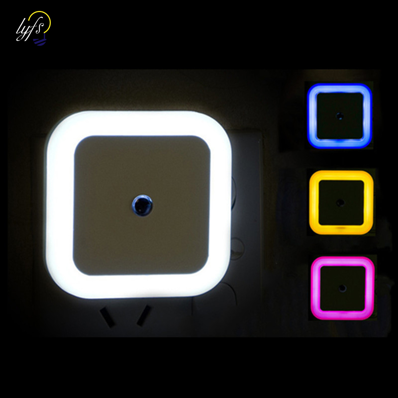 무선 센서 led 야간 조명 eu 미국 플러그 미니 광장 야간 조명 아기 방 침실 복도 램프