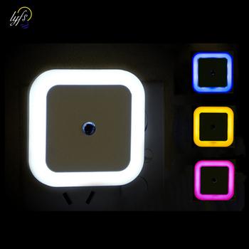 Bezprzewodowy czujnik LED lampka nocna ue US wtyczka Mini plac lampki nocne do pokoju dziecka sypialnia korytarz lampy tanie i dobre opinie lyfs Noc światła other Square LED night light Żarówki led 110 v 220 v Awaryjne 0-5 w white blue red yellow EU Plug US Plug