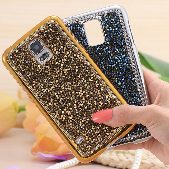 for samsung s5 cases fashion full glitter diamond plated metal case