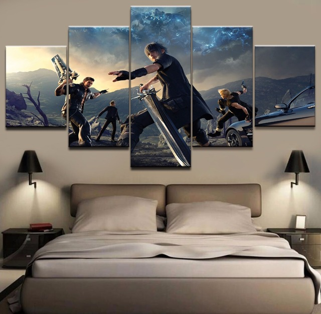 Poster 5 Pieces Canvas Final Fantasy Modern Decorative Paintings On Wall Art For Home Decorations Decor