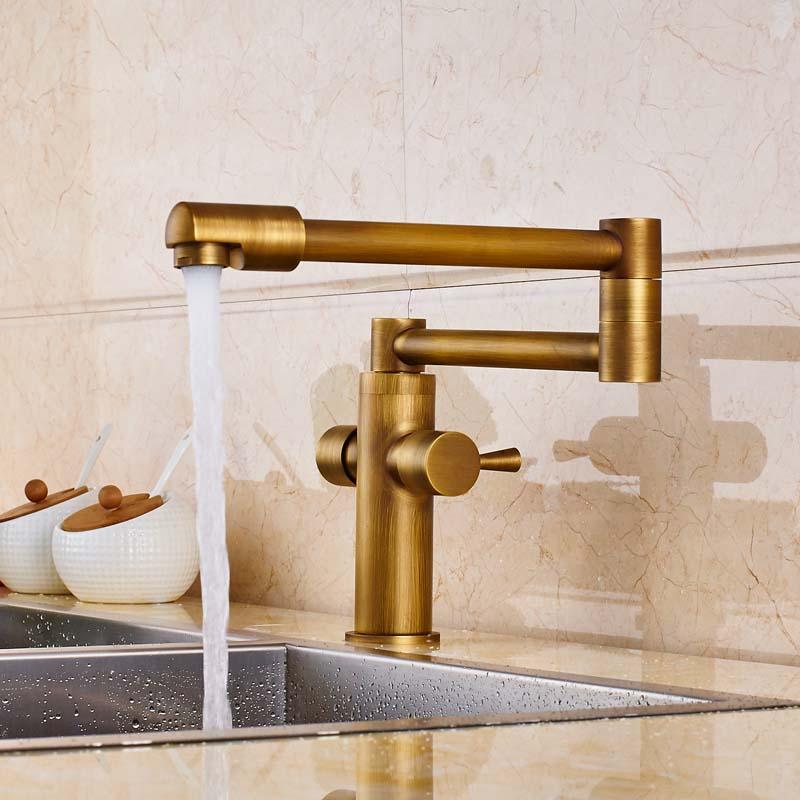 っDouble Handles Mixer Tap Kitchen Sink Faucet Deck Mounted Swivel ...