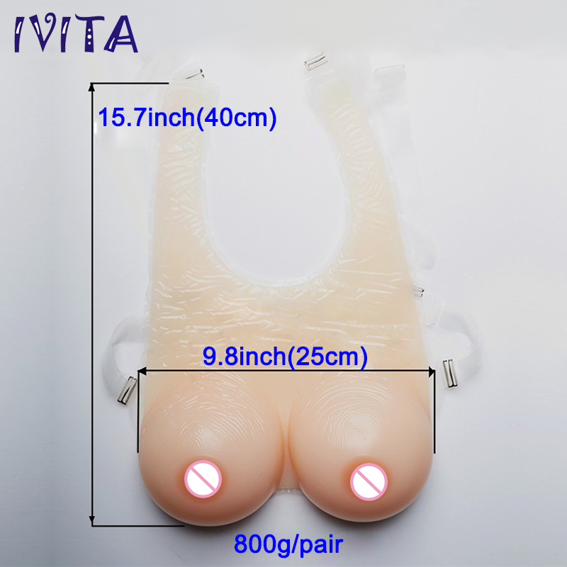 800g False Breast Full Silicone Boobs With Straps Very Soft Transvestite Clothing No need Extra Bra