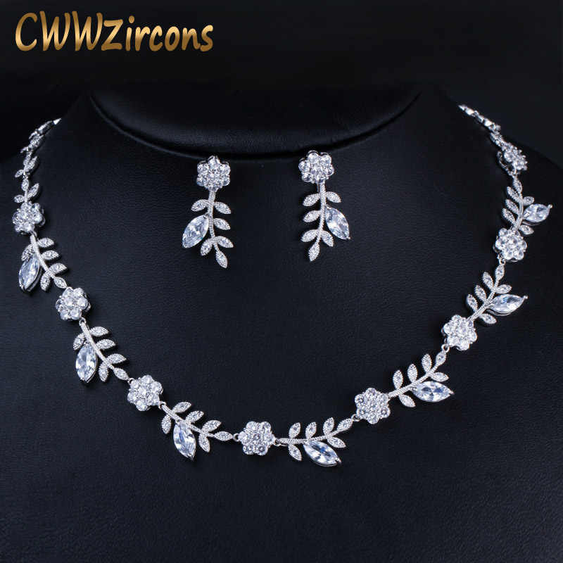 CWWZircons Leaf Shape Elegant Cubic Zirconia ชุดแต่งงานรอบ Choker สร้อยคอชุดเครื่องประดับชุดผู้หญิง T317