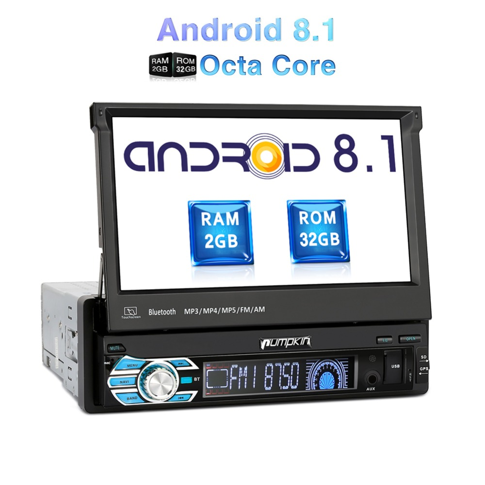 Pumpkin 1 Din 7''Android 8.1 Universal GPS Navigation Octa Core 2GB RAM 32G ROM Car Stereo Radio No DVD Player Wifi 3G Fastboot image
