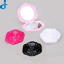 Pocket Mirror Plastic Portable Rose Flower Shape Compact Mirror Magic espelho 3D Double Sided Fold Retro MakeUp Mirrors 2HT20
