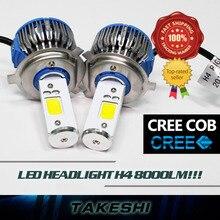 NEWEST UPGRADE!! 2x Hi Lo Beam Lamp H4 9003 HB2 60W/Set 8000LM/Set 12-24V Top LED COB Car White Fog Headlight Lamps light