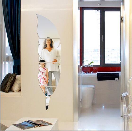 Bathroom Mirror Stickers aliexpress : buy feather dressing mirror acrylic mirror