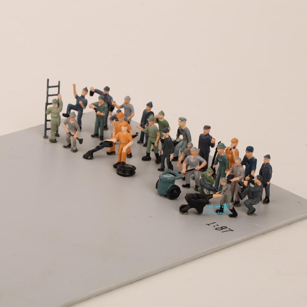 27PCS 1:87 HO Scale Model Railway Workers Landscape Model Train Railway Layout Scenery DIY  Miniature Dioramas Display Gaming
