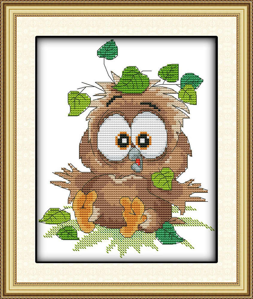 Baby owl cross stitch kit 18ct 14ct 11ct count printed canvas stitching embroidery DIY handmade needlework