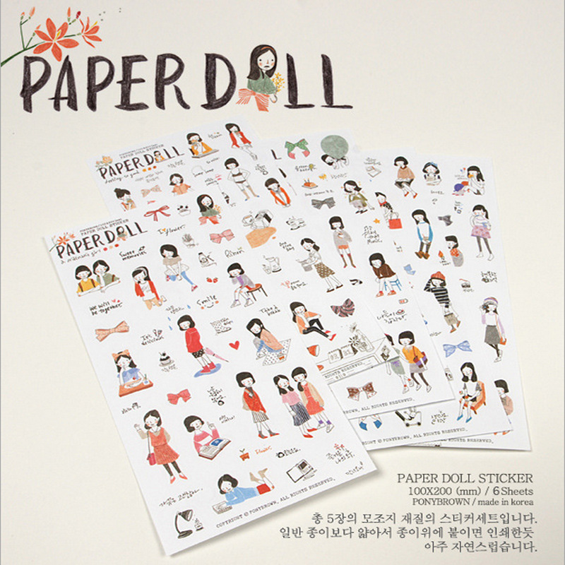 6 Sheets/lot Cute Pencil Drawing Girl Mini Pvc Transparent Korean Stickers Papers Flakes Kids Decorative For Cards Stationery address adhesive stickers labels 100 100mm 500 sheets thermal papers for labeling and sealing marks wholesale with a good price