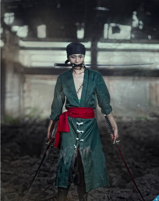 Image 2 - One Piece Roronoa Zoro Cosplay Costume Clothes Full Set Custom Made-in Anime Costumes from Novelty & Special Use