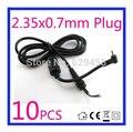 10 unids 2.35*0.7mm/2.35x0.7mm dc power plug cargador cable conector para asus eee pc netbook adaptador de envío libre
