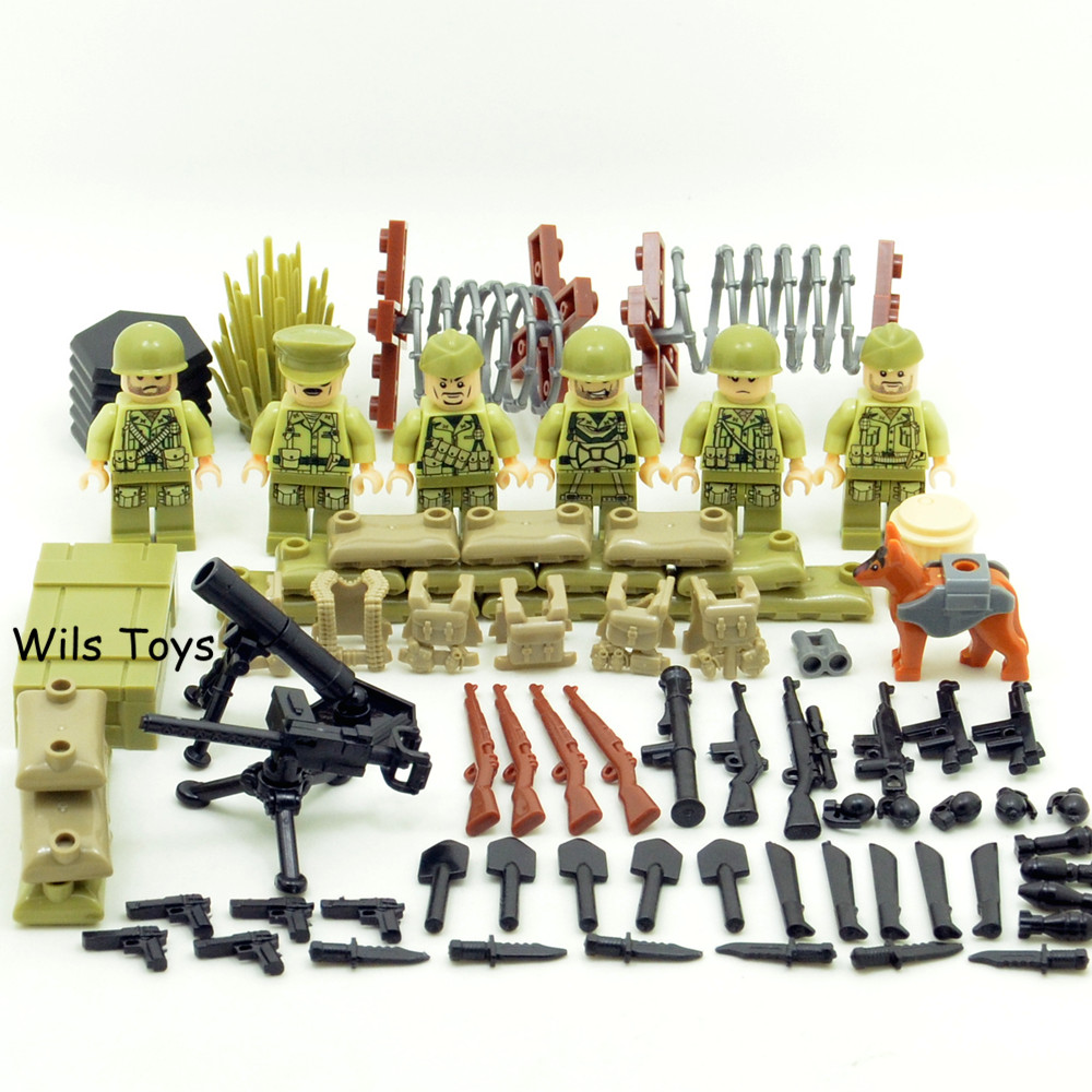 6pcs US Army World War 2 Military Special Force SWAT Soldier Navy Seals Team Building Blocks Brick Figures Boy Toy Children Gift