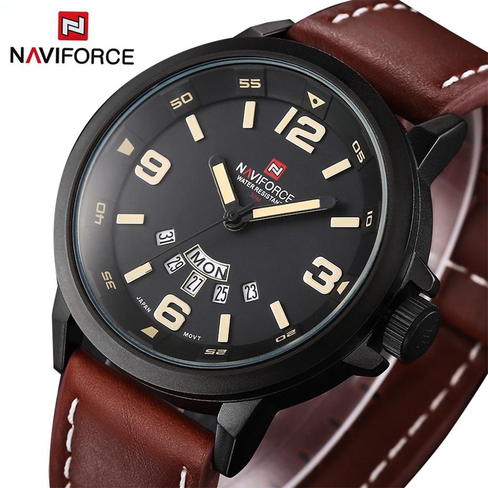 NAVIFORCE Original Luxury Brand Waterproof Quartz Watch Men Leather Army Military Wristwatch Calendar Clock relogio masculino