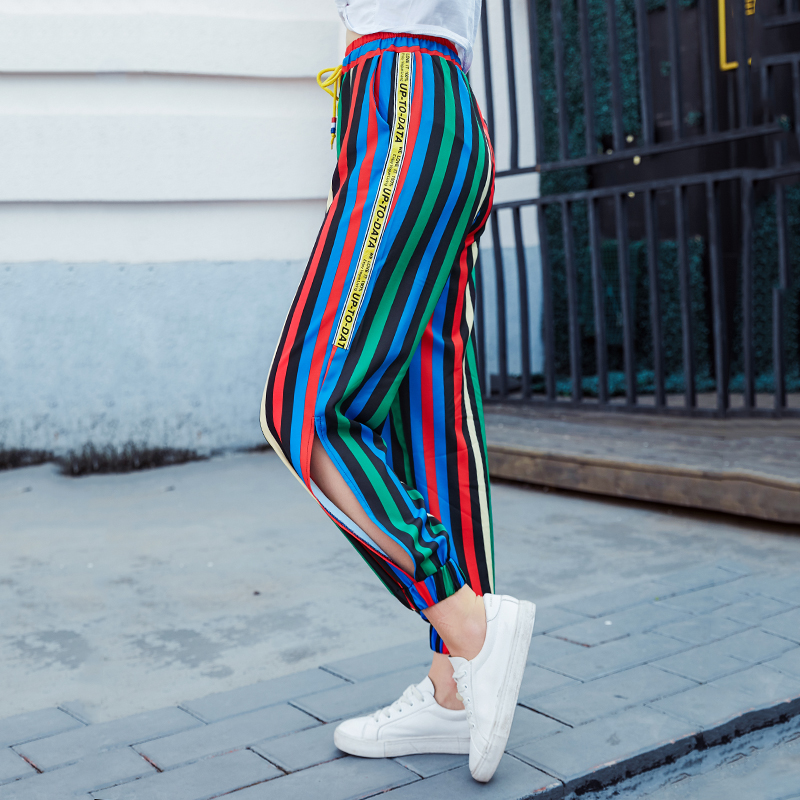 New 2018 Women's Fashion Casual Waist Striped Trousers Color Bow Sweet Drawstring Waist Waist Elastic Casual Pants