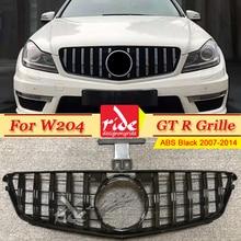 W204 Front Grille Grill C-Class C63 C180 C200 C250 C280 C300 C350 GTS Style ABS Black without emblem 2007-2014