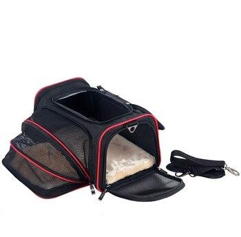 Portable Storage Pet Dog Carrier Bags Dog Cat Puppy Pet Travel Tote Shoulder Bag Cage Crate Gray Black 2