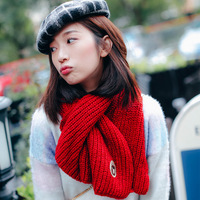 Newly Knitted Wool Winter Scarf Women Warm Solid Color Bear Patch Collar Crochet Neck Ring Scarf