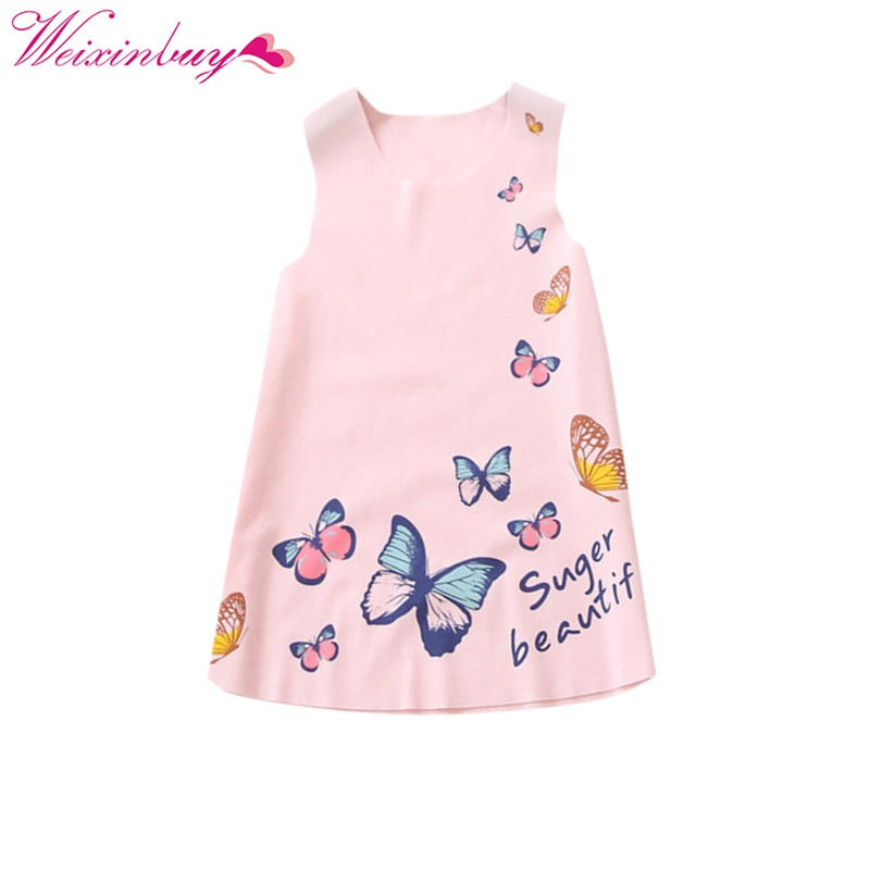 2017 Baby Butterfly printed Princess Dress Kids Party Dresses Clothes baby Girl A-Line Dress Sleeveless Clothing retail baby girl clothes casual a line kids dresses full girl party dress pretty pattern girl dress children clothing a1030