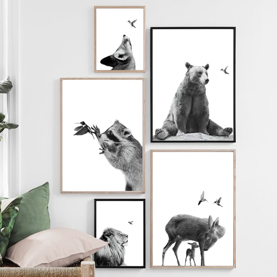 Cute Bear Koala Deer Fox Bird Black White Nordic Posters And Prints Wall Art Canvas Painting Wall Pictures For Living Room Decor