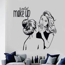 Vinyl Wall Decal Make Up Artist Wall Sticker Cosmetic Beauty Salon Decor Wall Mural Removable Make Up Shop Wall Poster AY903