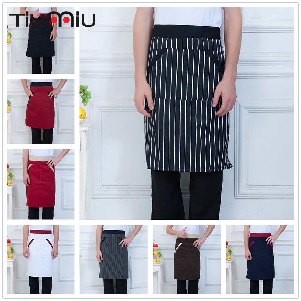 8 Colors High Quality Chef Aprons With Two Pockets Striped Patchwork Chef Uniform Hotel Bakery Kitchen Waiter Work Wear Aprons