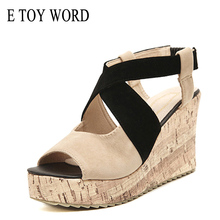 лучшая цена E TOY WORD Sandals women 2019 Platform Wedge Sandals woman Summer High Heel Shoes Open Toe Cross gladiator sandals Women Shoes