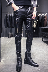 Image 5 - New Arrival Motorcycle Biker Skinny Pant Men Gothic Punk Fashion PU Leather Pants Hip Hop Zippers Black Leather Trousers Male