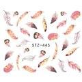 1 Folha Opcional Diferentes Cores de Penas Na Moda Nail Art Decoração Decalques de Água Transfer Etiqueta Do Prego para Senhoras STZ445-448