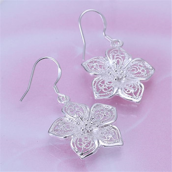 High quality  silver color beautiful flower earrings hot selling fashion jewelry E035 Free shipping Christmas gifts 3