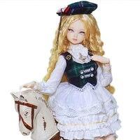 Бесплатная доставка Прекрасный 45 см тела совместных куклы подвижные желтый длинные локоны волос BJD куклы с платье принцессы образования ку