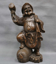 "17"" China Folk Pure Bronze Happy Old Man Mammon God Carry Bag Hammer Statue wholesale factory Bronze Arts outlets"