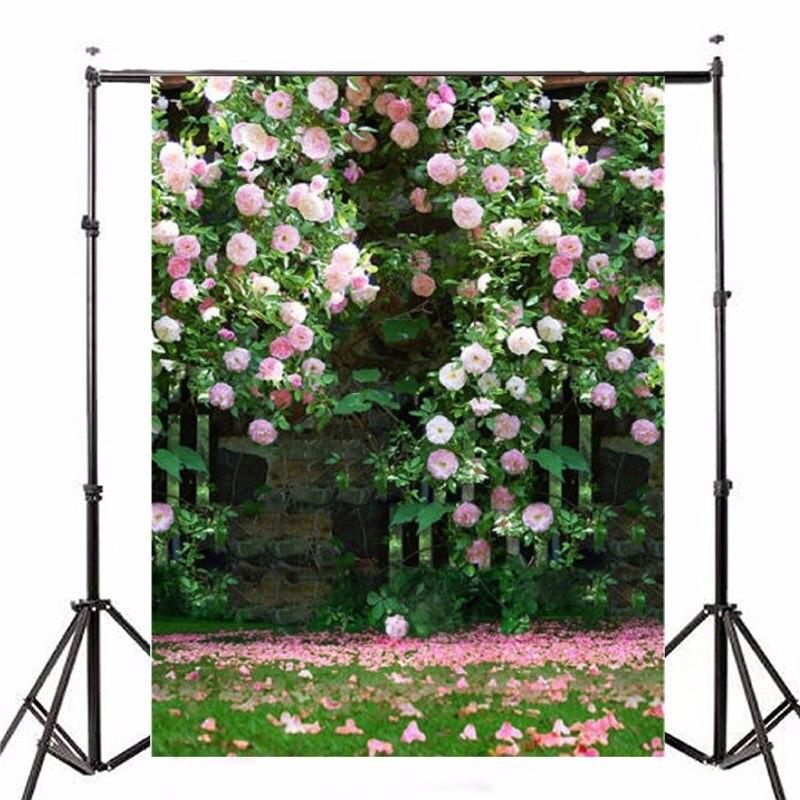 5x7FT Photography Vinyl Background Studio Photo Props Romantic Wedding Flower Garden Roses Backdrop Waterproof 2.1m x 1.5m 5 x 7 ft pink love hearts print photo backdrop for wedding party portrait photography studio background s 1305