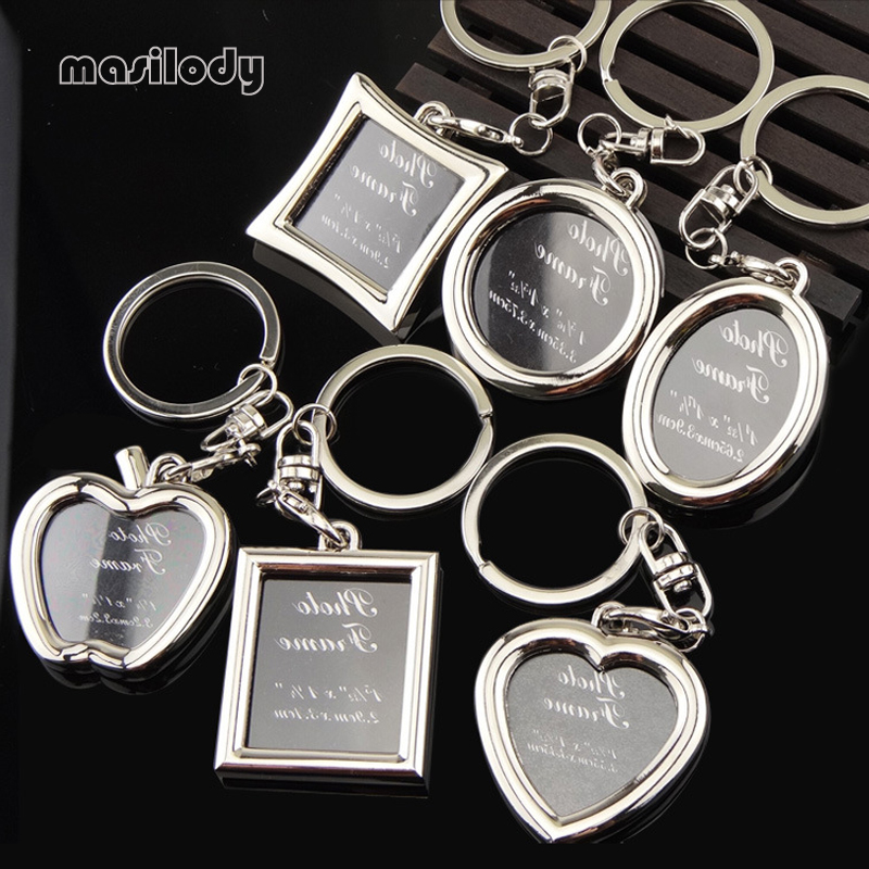 100pcs/Lot Metal Photo Frame Keychain Heart Round Square Shape Key Chain Apple Keyring DIY Logo For Lover Gifts Frame Keyrings