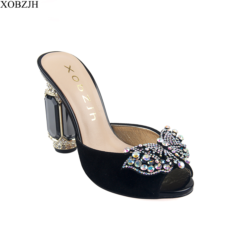 High Heels Sandals Women Wedding Shoes 2019 New Ladies Luxury Leather Rhinestone Summer Sandals block heel Shoes Woman Open Toe in High Heels from Shoes
