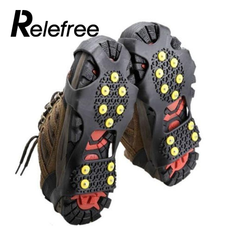 Hot Sale Anti-Skid Snow Ice Climbing Shoe Spikes Grips Crampons Cleats Overshoes Shoes Cover Crampon Spikes Convenient Tools drone helipad
