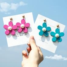 Korean Style Fashion Jewelry Flower Earrings Acrylic Simulated Pearl Simple Sweet Yellow Blue Orange Purple