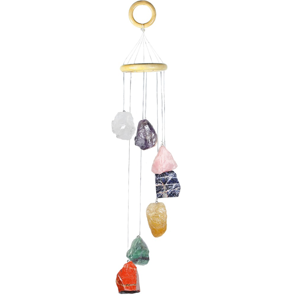 TUMBEELLUWA Colorful Raw Stones Crystal Wind Chimes Home Garden Decoration 17 21 Inches-in Jewelry Packaging & Display from Jewelry & Accessories