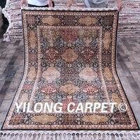 Yilong 4.6'x6.7' All over Design Handmade Floral Turkish Silk Persian Rug Sale(CQG17A4.6x6.7)