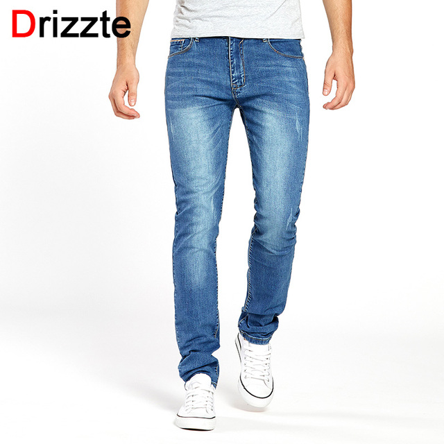 Drizzte Mens Jeans Stretch Summer Lightweight Thin Blue Denim Jeans Fashion Trousers Pants