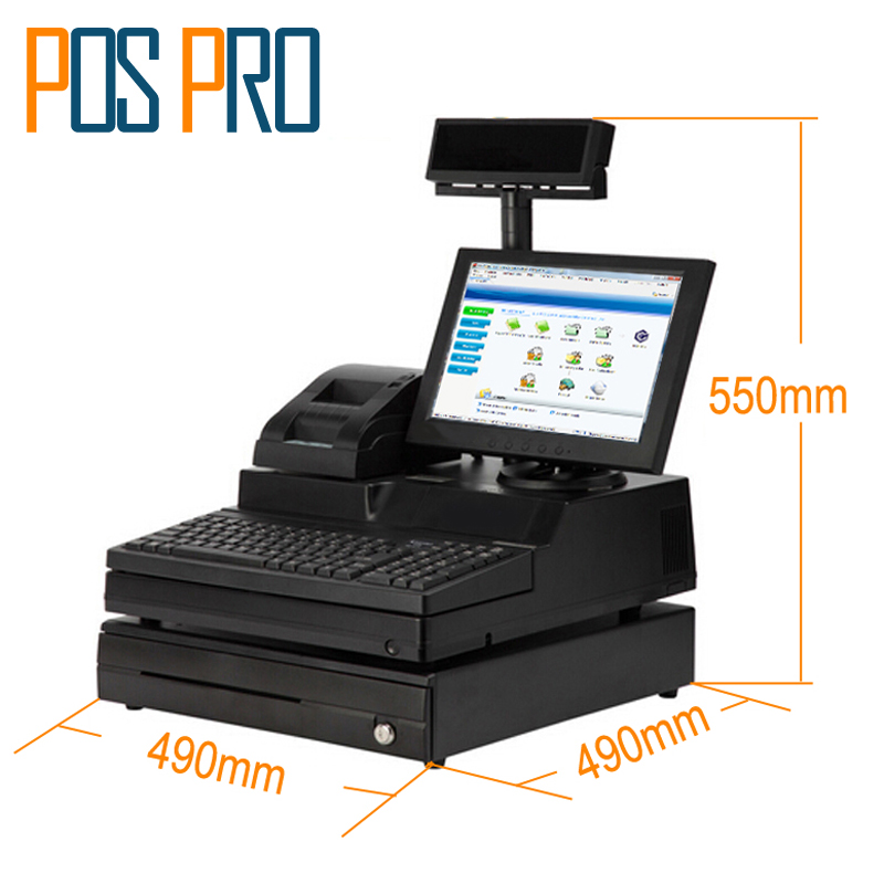 IPOS06 12.1 inch TFT LCD Monitor Cash Register All in one POS System with printer VFD Cash drawer for Supermarket Retail Shop 6pcs lot wholesale splitter plug adapter bnc connector male to 2 female bnc adapter coupler bnc plug adapte power supply