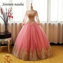 Blush Quinceanera Dresses Prom Party Vestido De Ouro Apliques Mangas Compridas Vestidos de Dança vestido de Baile Vestidos De 15 Años Doce 16 238