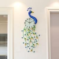Creative Metal Peacock Premium Needle Electronic Wall Clock Home Digital Mute Quartz Clock Hotel Art Decoration for Family Gifts