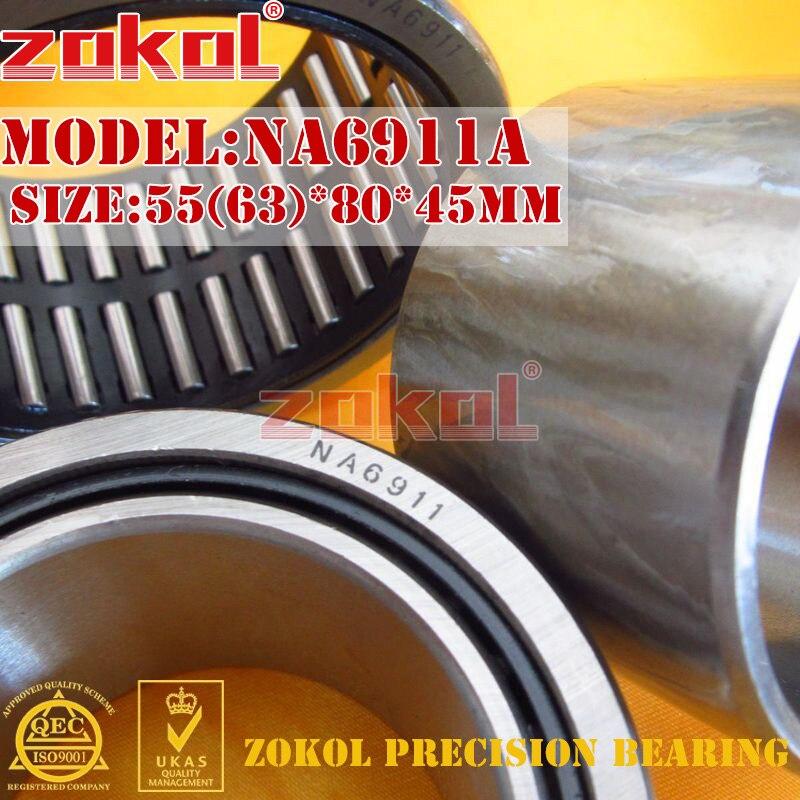 ZOKOL bearing NA6911 A NA6911A Entity ferrule needle roller bearing 55(63)*80*45mm na4910 heavy duty needle roller bearing entity needle bearing with inner ring 4524910 size 50 72 22