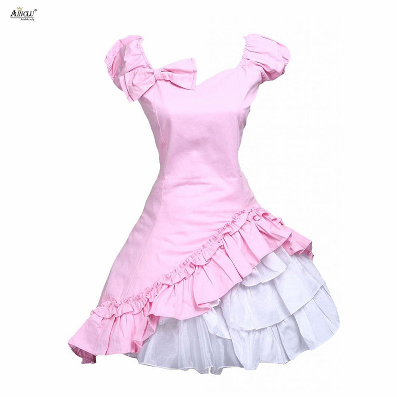 2018 Summer Pink Lolita Dress Womens Classic Cotton Short Sleeves Bow Ruffle Sweet Lolita Dress Ainclu XS XXL Cosplay Clothes